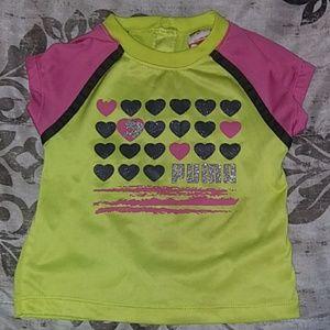 Puma toddler shirt size 24m yellow, pink, & black